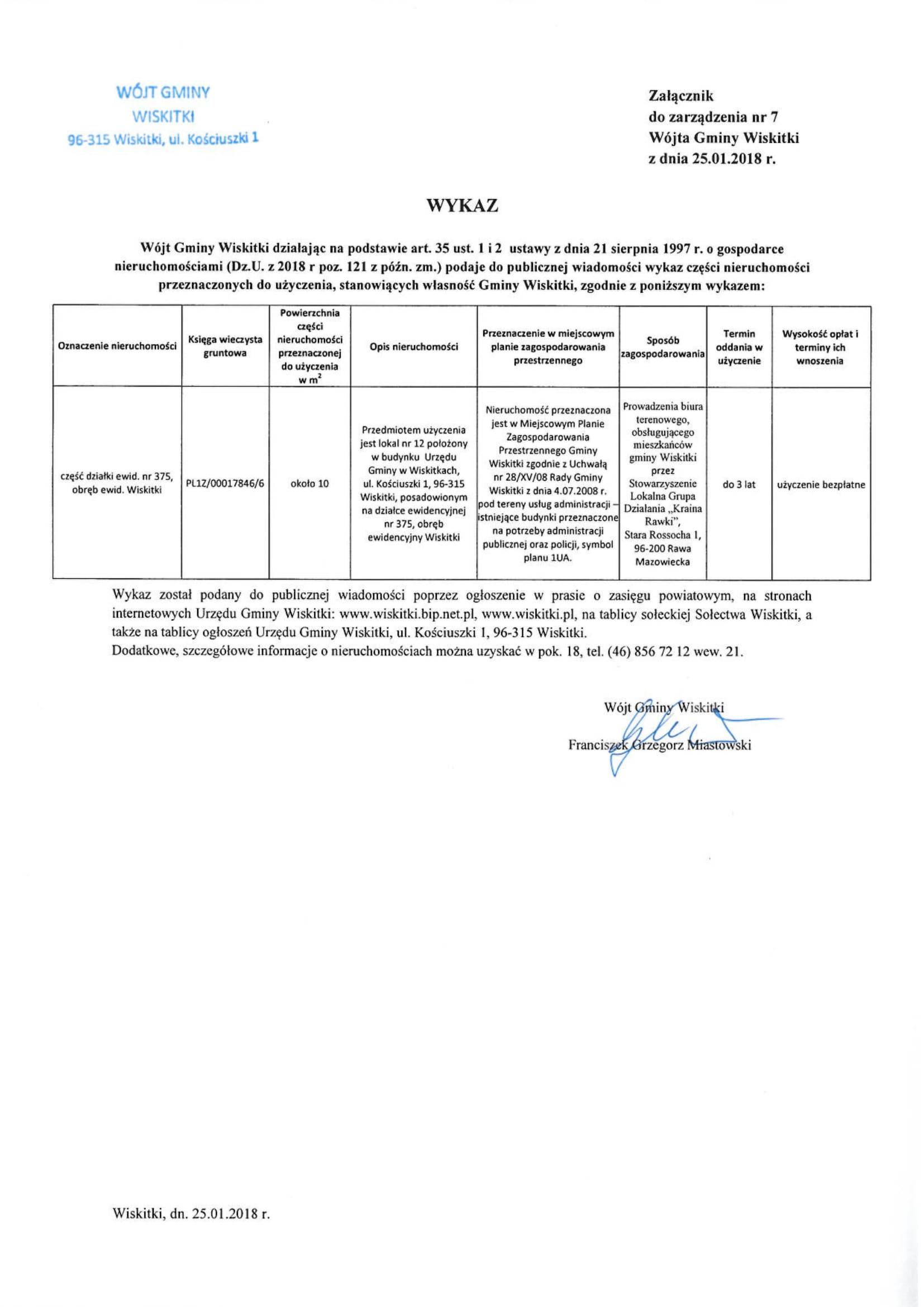 Wykaz części nieruchomości do użyczenia lokal dz. 375 Wiskitki-1