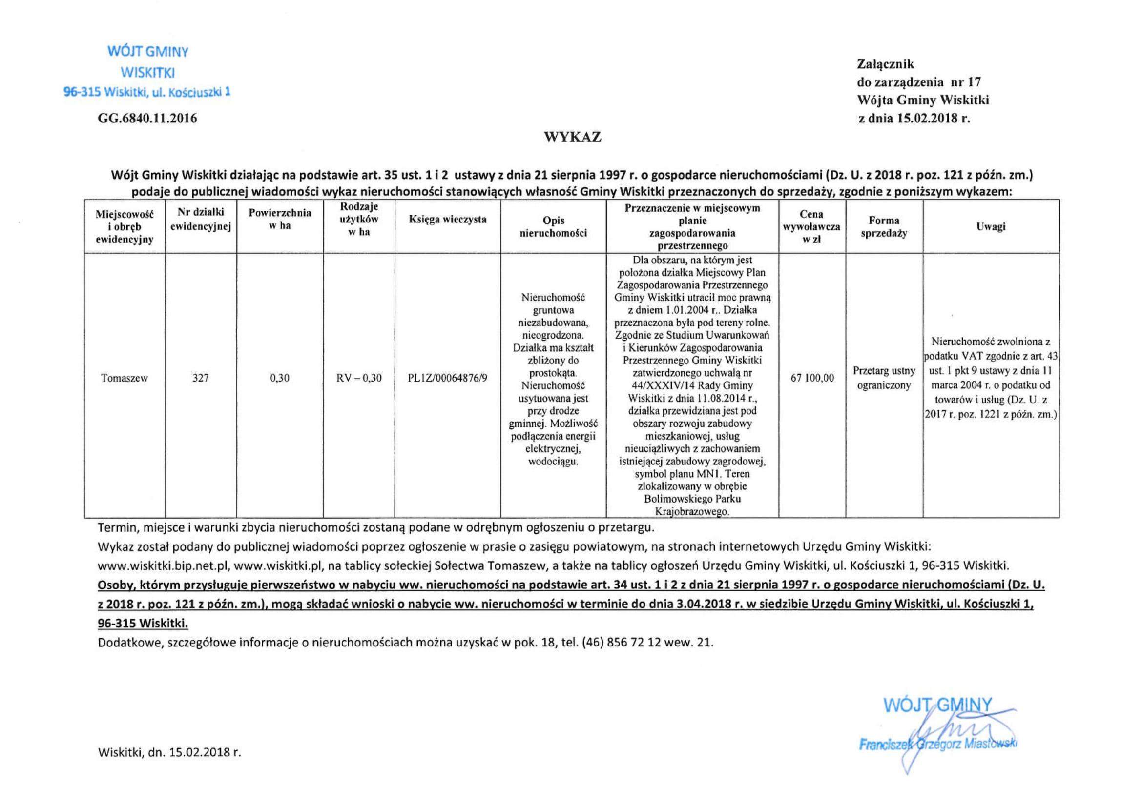 wykaz nieruchomości na sprzedaż dz. 327 Tomaszew-1