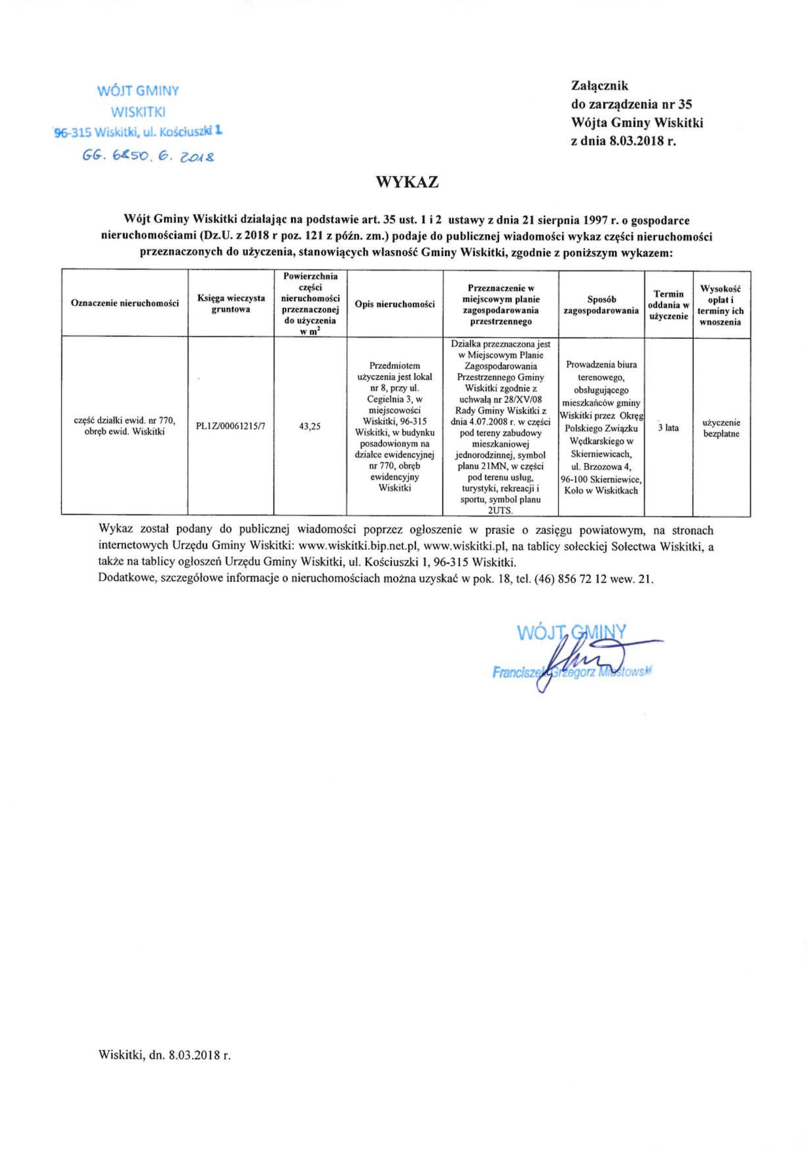 Wykaz nieruchomości do użyczenia lokal nr 8, ul. Cegielnia 3, 96-315 Wiskitki-1