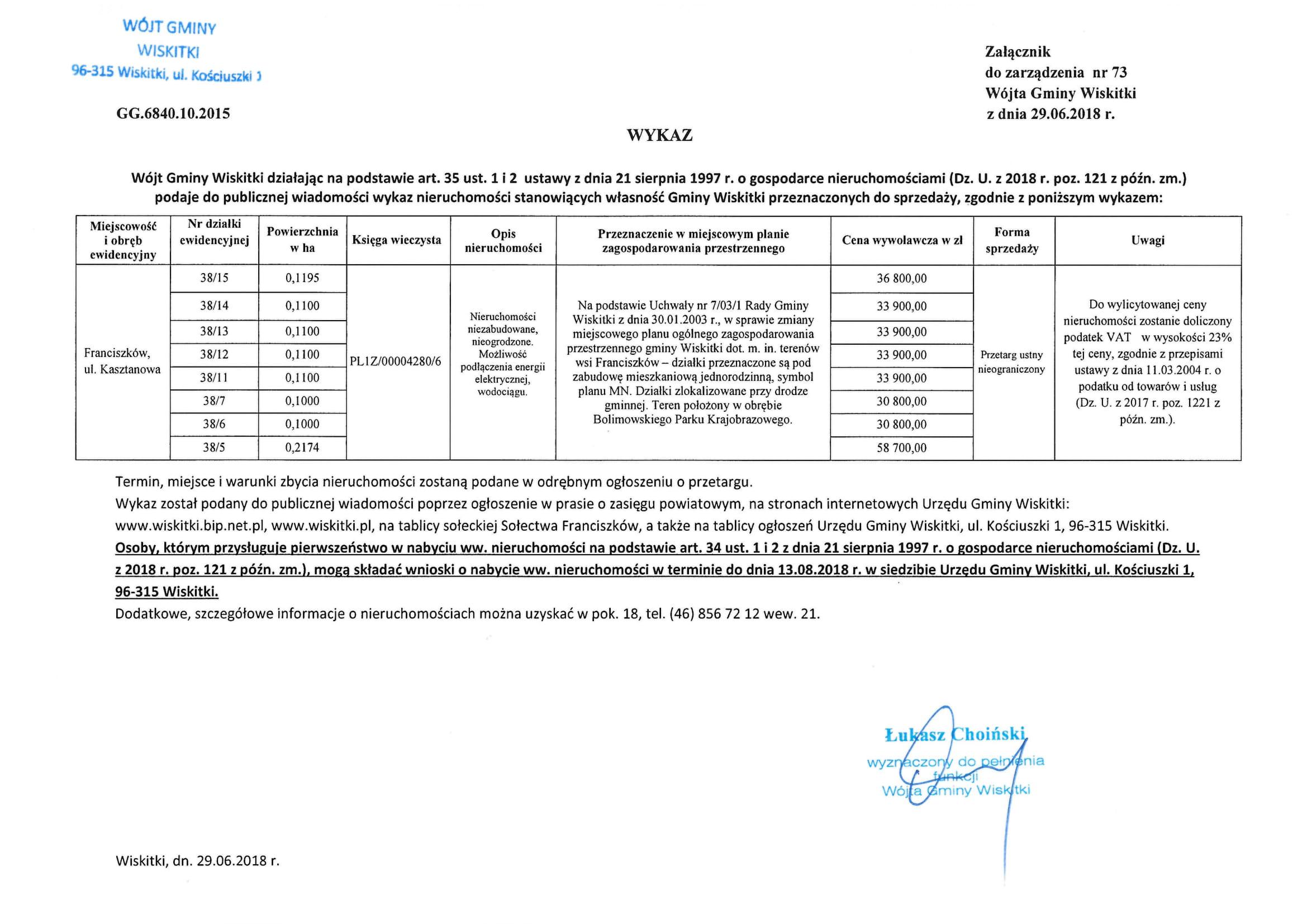 wykaz nieruchomości na sprzedaż Franciszków ul.Kasztanowa-1