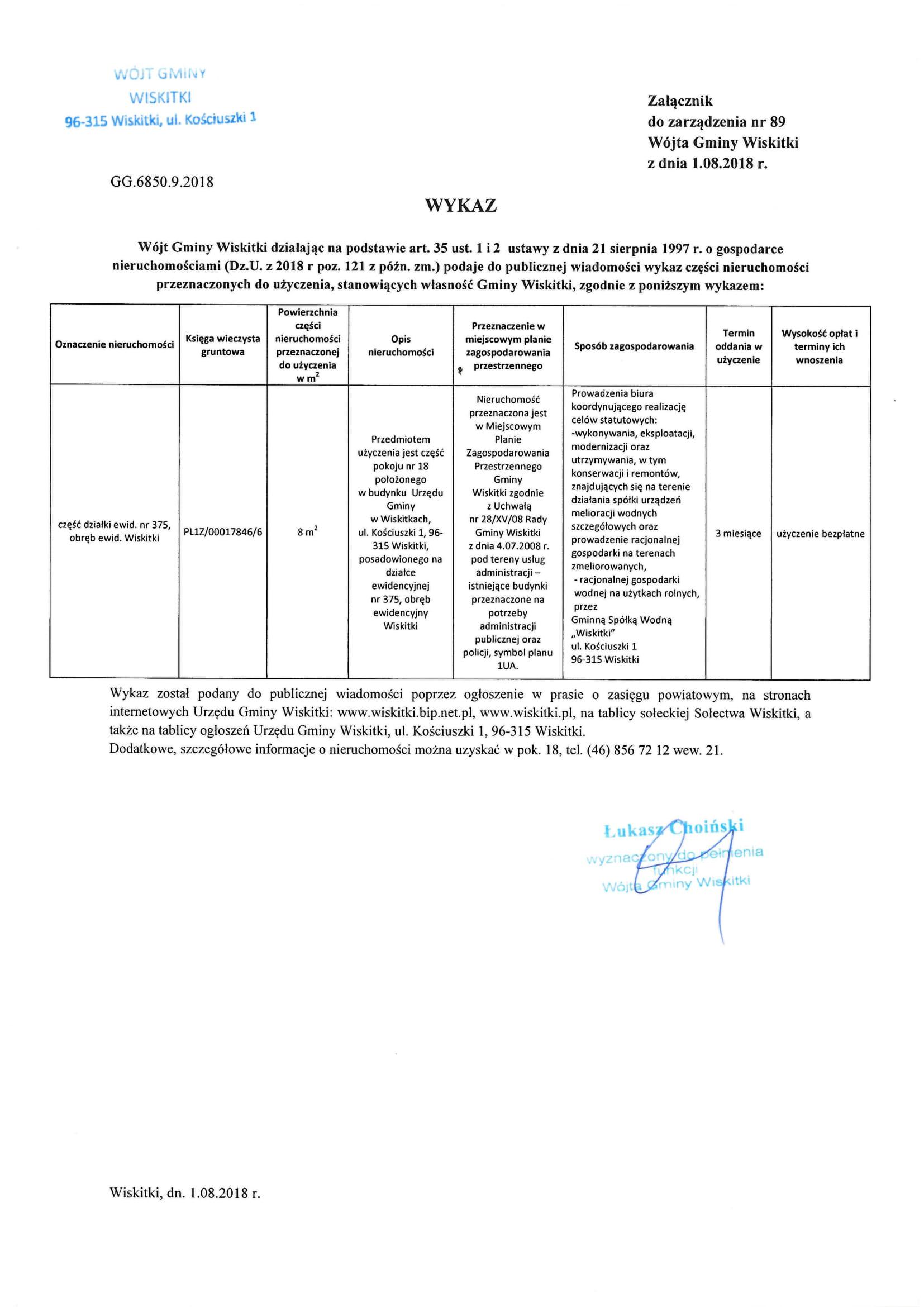 Wykaz części nieruchomości do użyczenia p.18 dz. 375 Wiskitki-1