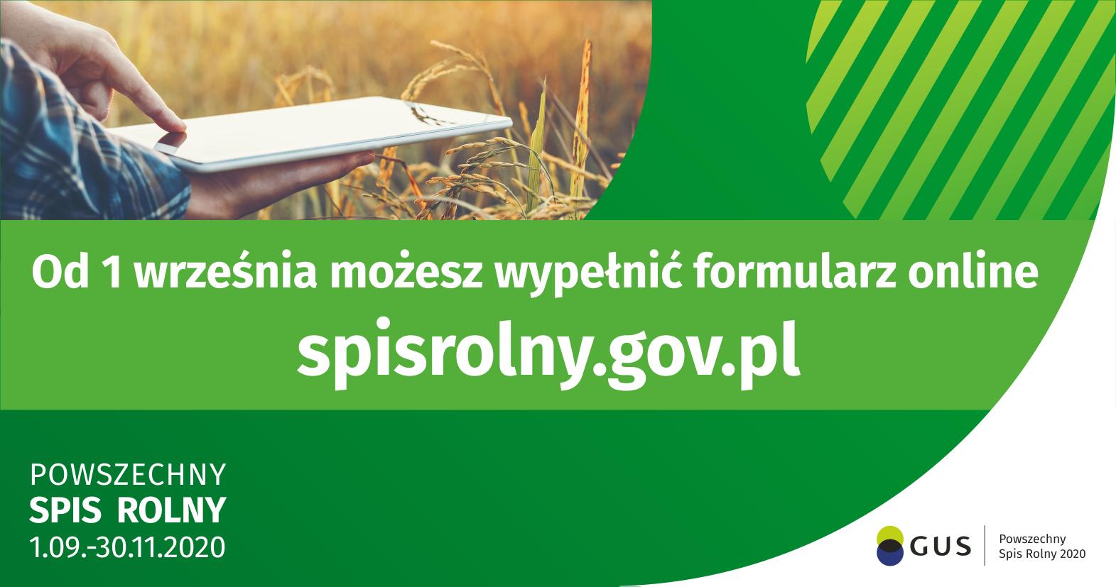 Od 1 września można wypełniać formularze na stronie spisrolny.gov.pl